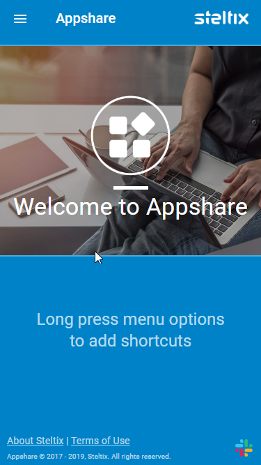 Appshare Initial Home Screen