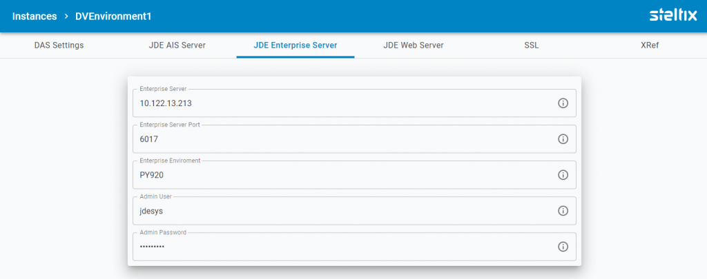 TL JD Edwards Enterprise Server Settings