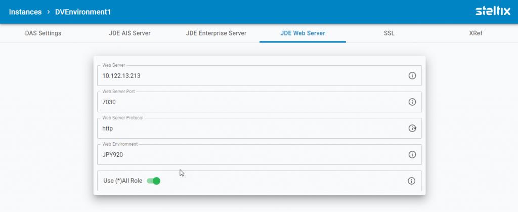 TL JDEdwards Webserver settings